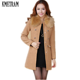 Wholesale coat casacos resale online – Casacos feminino Fur Collar Women Thick Wool Coat Double Breasted O neck Female Overcoat New Brand Autumn Winter A0349