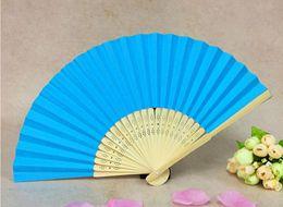 $enCountryForm.capitalKeyWord NZ - blue high quality wedding paper bamboo folding fans cheap hand folding fans paper fans wedding gifts 002