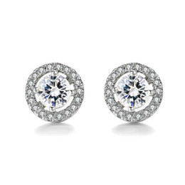 China Fashion ear stud Wholesale Round Imitation Crystal White Gold Plated CZ Diamond Stud Earrings For Women Wedding Jewelry suppliers