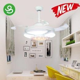 Опт Современные светодиодные потолочные вентиляторы свет невидимые лезвия потолочные вентиляторы гостиная спальня столовая люстры потолочный светильник подвесной вентилятор лампы