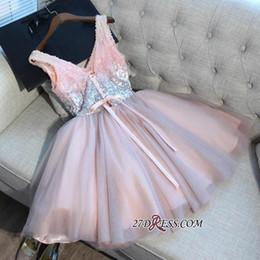 Black Bandage corset dress online shopping - Light Pink Sequins Short Homecoming Dresses New Arrival V Neck A Line Tulle Knee Length Cocktail Party Gowns Corset Back BA9973