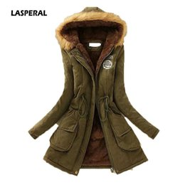 Fur coat wadded online shopping - LASPERAL Women Fashion Parkas Winter Jackets Coats Faux Fur Hooded Collar Casual Long Parkas Cotton Wadded Laidies Overcoat S18101202