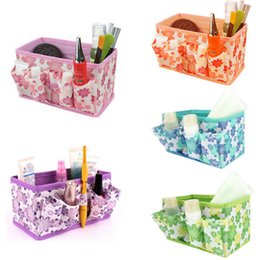 Green Box Containers Australia - Organizer box makeup organizers Cosmetic Storage Box Bag Bright Color Foldable Stationary Container Makeup organizador watch box