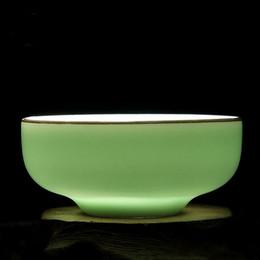 Lotus porceLain online shopping - Top grade celadon hand painted lotus flower cup cup plum green porcelain circular flat Kung Fu teacup suit