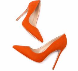 08c67e8204 O envio gratuito de mulheres bombas sexy lady orange camurça de couro de  salto alto sapatos sandálias de salto fino sapatos de festa de casamento da  noiva ...