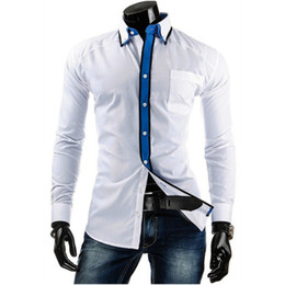 $enCountryForm.capitalKeyWord NZ - Korean Slim Boy Blusa Preppy Style Patchwork Long Shirts Spring Summer Wear Turn-down Collar Party Blouse Young Man Office Tops