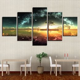 multi piece abstract canvas art Australia - Canvas Paintings Wall Art HD Prints Abstract Poster Framework 5 Pieces Green Trees In Lake Galaxy Starry Sky Pictures Home Decor