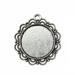 Blank Necklace Base UK - 10 Pieces Cabochon Cameo Base Tray Bezel Blank Diy Jewelry Findings Flower Single Side Inner Size 25mm Round Necklace Pendant Setting