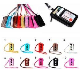 Опт Розовый ремешок для шейного ремешка Имя владельца сумки для кредитных карт Розовый строп