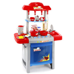 Girls Kitchen Play Set Australia - Multifunction Electronic Kitchen Sets 25 accessories with light and sound Kitchen Cooking Simulation Pretend Play Toys