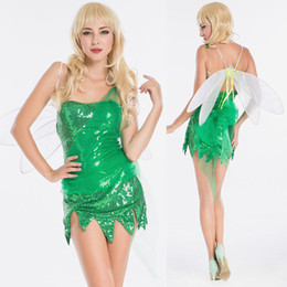 $enCountryForm.capitalKeyWord NZ - 2018 Nightclub Bar Sexy Small Green Dragonfly Fairy Princess Cosplay Halloween Game Uniform Costume DS Dance Stage Dress Costume Suit 8614