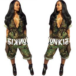 Camouflage rompers online shopping - American Hot Women Fancy Camouflage Print Rompers Women Jumpsuit V Neck Bodysuit Women Overalls