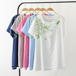 women linen summer shirt embroidery Canada - Summer Fat Mm Thin Cotton T-shirt Linen Embroidery Green Leaf Short Sleeve T Shirt Women New Fashion Casual Tshirt Pure Color