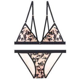c412f2e011f3c 2018 New Arrival Embroidery Flower Ultra Thin Bra Set Triangle Cup  Underwear Set Women Sexy Bralette V Neck Wireless Lingerie