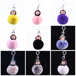 Motorcycle Hair Australia - For Car Keys Buckle Plush Hair Ball Motorcycle Helmet Sleeping Baby Doll Key Ring Soft Women Keychain Cute 7 02gf B