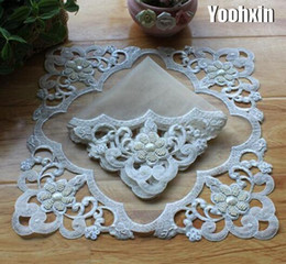 Kitchen Place Mats Australia - Modern lace beads place table mat cloth pad embroidery cup mug drink doily dining coffee coaster Christmas placemat kitchen