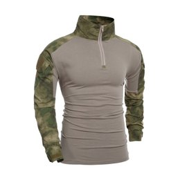 combat suit army 2019 - Tactical Camouflage Long Sleeve Frog Suit Men Tops Army Combat T-Shirt Hunting Clothes cheap combat suit army