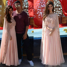 Discount indian formal dresses - Blush Pink Evening Dresses with Wrap Indian Arabic Kaftan Women Prom Party Gown Sheer Beaded Cape Saresuit Formal Occasi