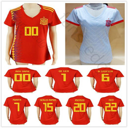 kids soccer jerseys spain NZ - 2018 Women Spain Soccer Jersey INIESTA ASENSIO CALLEJON ISCO SERGIO RAMOS PIQUE MORATA Custom Red Grey Woman Man Kids Youth Football Shirt