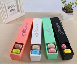 $enCountryForm.capitalKeyWord NZ - Macaron Box Cake Boxes Home Made Macaron Chocolate Boxes Biscuit Muffin Box Retail Paper Packaging 20.3*5.3*5.3cm Black Pink Green White