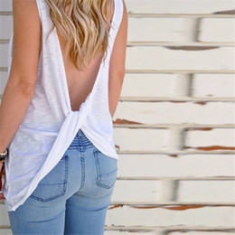 $enCountryForm.capitalKeyWord Australia - Summer Women Sexy Sleeveless Backless Tank Top Shirt Knotted Blouse Sexy Vest Tops Tshirt Open Back T shirt Beach Camisole Mujer