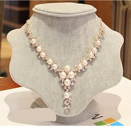 flower necklace pearls crystals beads 2019 - ZOSHI Bling Austria Crystal Rhinestone Simulated Pearl Beads Choker Necklaces Women Flower Pendant Necklace Collares Muj