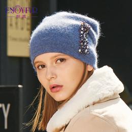 b0c9458bb54fc0 ENJOYFUR Knitted Hat Female Double Layer Soft Wool Caps Thick Warm Women's  Winter Beanies Casual Girl Caps D18110102