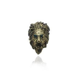 $enCountryForm.capitalKeyWord UK - Vintage Animal Ring Lion Head Rings Domineering Blue Eyes Vintage Punk Lion Ring Steampunk Bronze Rings Men Jewelry Drop Shipping