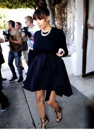 Kardashian Special Occasion Dresses Canada - Kim Kardashian Navy Blue Evening Dress High Quality Long Sleeves Special Occasion Dress Prom Party Gown