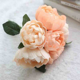 orange white roses bouquet Australia - 2018 new Artificial Flowers Round Rose Silk Flower Bouquet Wedding