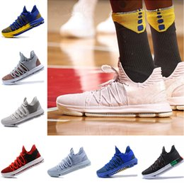 Blue Kd Shoes Australia - 2019 New Kevin Durant 10 Basketball Shoes Men Kd 10 Gold Championship MVP Finals Sports Shoes training Sneakers Running Shoes Size 7-12