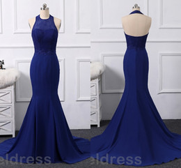 $enCountryForm.capitalKeyWord NZ - Royal Blue Mermaid Prom Dresses 2018 Lace Jewel Backless Sweep Train Cheap Evening Party Gowns Arabic Custom Made Sexy