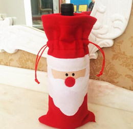 dancing santa decorations UK - Christmas stockings 32*13cm Santa Claus Red Wine Bottle Cover Bags Christmas Table bottle bag wedding Party Supplies