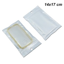Phones comPonents online shopping - 14x17 cm Clear White Pieces Zip Lock Digital Components Storage Organizers Holder with Hang Hole Resealable Phone Case Cover Polybags