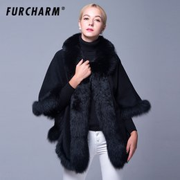 7b308aabe5c3e Genuine Cashmere Winter Women Fur Shawl Ponchos With Natural Fox Fur Trim Real  Fur Coat Outerwear Female Pashmina