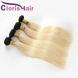 Discount 1b 613 ombre straight hair weave - Blond Ombre Hair Extensions 1b 613 Two Tone Colored Raw Indian Virgin Silky Straight Human Hair Weave Cheap Blonde Ombre