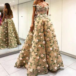 $enCountryForm.capitalKeyWord Canada - Dubai Fashion Formal Evening Dresses 3D Flowers Sexy Off Shoulder Beads Applique Tulle Ball Gown Prom Dress Glamorous Saudi Celebrity Dress