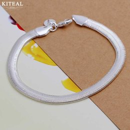 $enCountryForm.capitalKeyWord Canada - 925 jewelry Gold color silver plated jewelry bracelet fine fashion 6mm 20.5cm Flat Soft Snake Chain wholesale &retail SMTH164