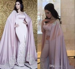 Wholesale Dubai Arabic Evening Dresses With Cape Luxury Appliques Sparkle Crystal Sequins Lilac Caftan Kaftan Abaya Special Occasion Prom Formal