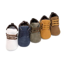 Discount newborn baby leather moccasins - Moccasins Newborn Toddler Shoes Sneakers Soft Soled Flock Leather Baby Boy Boots Lace-Up Classic First Walkers
