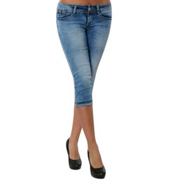 4056f4c8516 wholesale Plus Size Skinny Short Jeans Women Fashion Solid Bow Woman Denim  Pencil Trousers Casual High Waist Stretch Mom Jeans