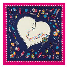 $enCountryForm.capitalKeyWord Canada - Fashion Women Twill Print Scarf New Love Heart Pattern Shawls Foulard Femme Joker Red Square 100% Silk Scarfs 60*60CM