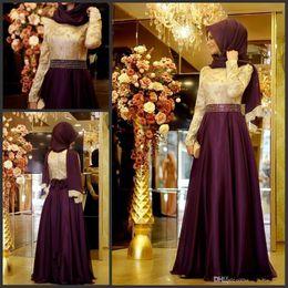 long sleeve chiffon party dress hijab 2019 - 2018 Muslim Evening Dress With Long Sleeves Shiny Beading Waist Top Lace A-line Chiffon Burgundy Arabic Long Hijab Eveni