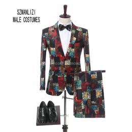 China Terno Masculino 2018 Latest Coat Pant Design Formal Wear Groom 2 Button Men Printed Wedding Suits Wedding Tuxedos For Men Slim Fit Groomsmen cheap formal coat pant design suppliers