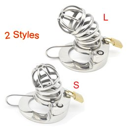 Discount bdsm toys male chastity - 2 Styles Male Stainless Steel Cock Cage Lock Super Small Chastity Device Penis Ring Bndage Fetish BDSM Sex Toys For Men