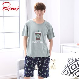 Discount lounge suits - Bejirog Short Sleeved Sleep Clothing Nightwear Men Pajamas Set Casual Nighties Cotton Sleepwear Summer Male Lounge Fashi