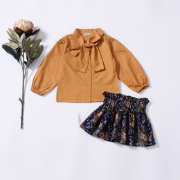 $enCountryForm.capitalKeyWord Australia - Baby Girls Shirt Short Skirt 2pcs Sets Autumn Kids Bow Collar Long Sleeved Shirt + Floral Printed Skirts Clothing Suit Free DHL B22