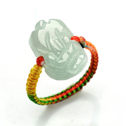 green jade carvings Canada - Certified Grade A Green Jadeite Jade Ring Beads RED String Hand carved PIXIU