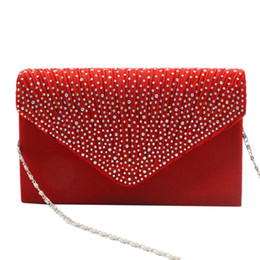 navy blue evening clutch bag NZ - Blosa Fashion Women Clutch Bag Red Charms Party Night Club Evening Bag Charms Solid Color Female Dinner banquet Clutches Bag