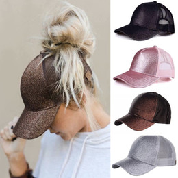 Discount black trucker cap hat High Quality Glitter Baseball Cap Snapback Trucker Caps For Women Female Messy Bun Mesh Caps Girl Hip Hop Dad Hat